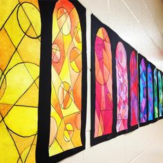 Rainbow of Faux Stained Glass Windows. 🌈#oilpastels #teachersofinstagram #artteachersofinstagram #artteacher #arted #artday