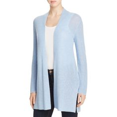 Eileen Fisher Petites Straight Long Cardigan (5 880 UAH) ❤ liked on Polyvore featuring tops, cardigans, morning glory, petite, summer beach tops, lightweight summer cardigans, long summer cardigan, summer tops and petite tops