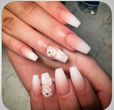 Nude to white ombre nails