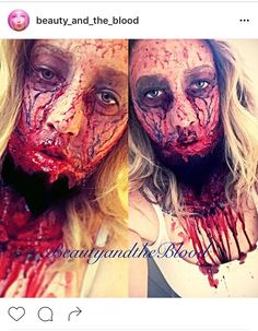 Ripped Throat, exploded face, bloody, gory, Halloween zombie, walking dead expressive special effects makeup art by @beauty_and_the_blood