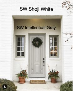 Shoji white and Intellectual Gray by Sherwin Williams White Brick Houses, White Exterior Houses, Exterior Paint Colors For House, Grey Exterior, Paint Colors For Home, Exterior Colors, Exterior Design, Painted White Brick House, Painted Brick Exteriors
