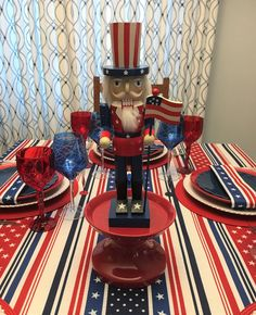 Stars and Stripes and Uncle Sam — Whispers of the Heart Fourth Of July Decor, 4th Of July Decorations, Waterford Marquis, Ballard Designs, Holiday Tables, Red White Blue, Memorial Day, Pottery Barn, Home Crafts