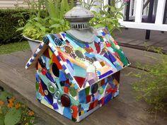 decorated mosaic bird house