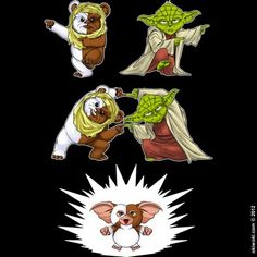 okiwoki's Yoda-Ewok Fusion Dance...so that's how Gizmo was born; from a Dragonball Z move! (via Dorkly)