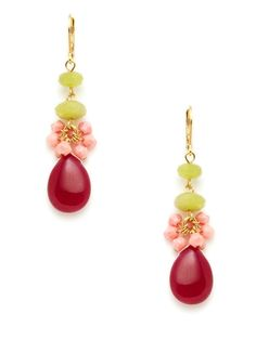David Aubrey Fuchsia Jade & Pink Coral Earrings Coral, Fuchsia and Lime, nice.