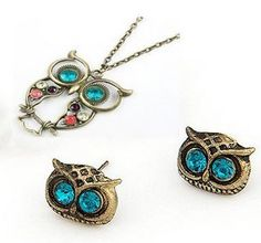 *HOT* Vintage Retro Owl Pendant Necklace and Earring Set, only $0.80 shipped!