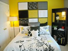 Yellow & Black bedroom. I would prefer grey walls instead of the yellow.