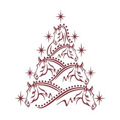 Tree Christmas Horse Cuttable Designs SVG DXF EPS by CuttableArt