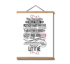 The Beatles Let it Be Song Lyrics Typography Quote