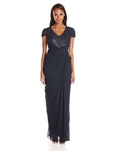 Adrianna Papell Womens CapSleeve VNeck Shirred Gown with Lace Bodice Ink 8 ** You can find more details by visiting the image link. (This is an affiliate link and I receive a commission for the sales)