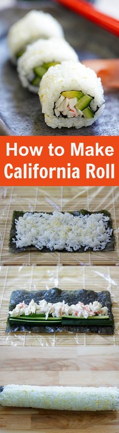 Easy homemade California roll sushi with crab and avocado. Learn how to make California rolls with the step-by-step picture guide. Easy Delicious Recipes, Yummy Food, Healthy Recipes, Easy Sushi Recipes, Cooked Sushi Recipes, Healthy Sushi, Eating Healthy, Free Recipes, California Roll Recipes