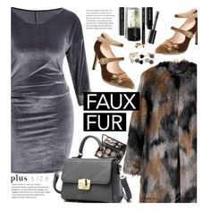 Faux Fur Coats (plus size) by beebeely-look on Polyvore featuring polyvore, fashion, style, Yoek, Bobbi Brown Cosmetics, clothing, sammydress, plussize, plussizefashion and velvetdress