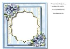 lOVELY Blue incert with Roses on Craftsuprint - Add To Basket!