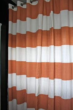 Cheap Shower curtain-target -some paint and frog tape!! Easy to match w/wall color! Oh, the possibilities!!