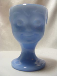 Vintage Guernsey Glass delphite blue in the face egg cup.