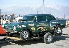 Green Seen '55 Chevy - ran 8.6-8.8's on 60% nitro in '69! - gfx