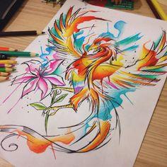 Painéis by Felipe Bernardes   #draw #tattoo #phoenix #fenix #color #aquarela #watercolor #felipebernardes