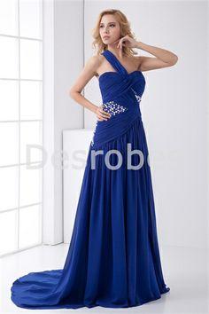 Robe de soirée bleu roi sexy fente avant une épaule dos nu 2014