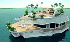 Tired of living in your luxury house in the tropics? Why not Purchase a floating palace to take it all with you instead? ORSOS Islands combines fancy real estate and luxury yachts into one ft floating island. Floating Island, Floating House, Future House, My House, Boat House, House Yacht, Water House, Villa, Yacht Design