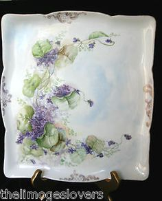 Lovely Antique Handpainted Spray of Violets Scroll Limoges Large Tray Mine to enjoy now