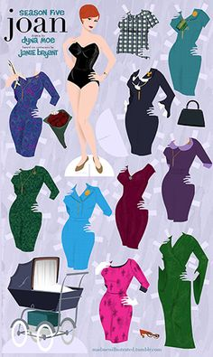 Over the years, illustrator Dyna Moe has been crafting beautiful drawings referencing key moments from Mad Men. But did you know that she also periodically creates paper doll versions of some of the show's most fashionable characters? The one of Joan above features designs inspired by the iconic costumes of Janie Bryant.      Click here to download a printable Joan Doll PDF