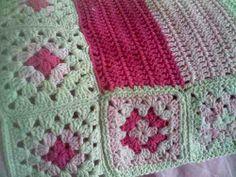 Manta Rayas Y Cuadros Tejida A Mano Al Crochet Algodón