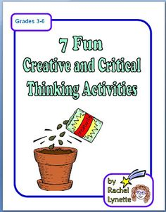 Creative and Critical Thinking: 7 Activities! Ready to Use FREEHere are seven fun higher level thinking activities to use with your students! Perfect for fast finishers during test season or all year long! Critical Thinking Activities, Critical Thinking Skills, Classroom Freebies, School Classroom, Classroom Ideas, Brain Based Learning, Kids Learning, Teaching Tools, Teaching Resources