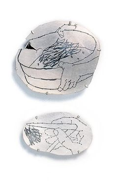 """""""Mind in the Hand"""" by Esther Knobel, 2007. Silver, iron thread."""