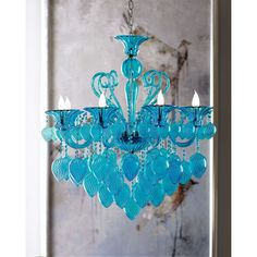 Modern Glamour Chandelier found on Polyvore featuring polyvore, home, lighting, ceiling lights, aqua glass lamp, modern ceiling lamp, modern glass chandelier lighting, chain chandelier and colored lights
