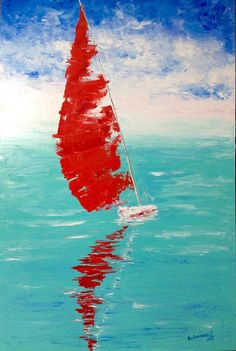 Wall art large boat Red sailboats on canvas Seascape Large size painting Oil art work Modern interior Painting for living room Office decor Großes Boot Malerei Türkis und rot Malerei Impressionismus rot Simple Oil Painting, Large Painting, Oil Painting On Canvas, Peace Painting, Sailboat Painting, Seascape Paintings, Landscape Paintings, Bedroom Paintings, Fine Art