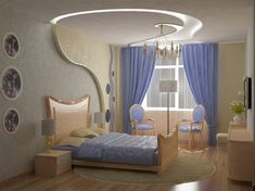 Modern interior design is very popular nowadays. Disproportion gives special sparks to your bedroom interior design. Modern elements can be places on the walls and ceiling. Wide window brings lot of brightness and light to the room.