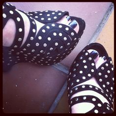 My shoes ... Absolute favourite shoes ... Alaia studded suede wedge sandals