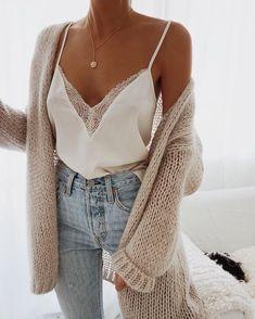 84eccc9194797 Beige cardigan - white silk tank top - high waist jeans outfit - grlfrnd  denim -