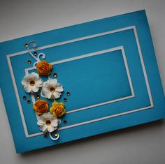 Blue and yellow I Card, Scrap, Challenges, Frame, Yellow, Blue, Wedding, Decor, Picture Frame