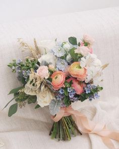 We fell in love with this peach and blue hand tied bouquet and had to see more of Floral Magic's work. They did not disappoint! For those newly engaged, a hand tied bouquet has a natural, just picked Bridal Flowers, Flower Bouquet Wedding, Floral Wedding, Flower Bouquets, Purple Wedding, Wedding Themes, Wedding Colors, Wedding Decorations, Wedding Designs