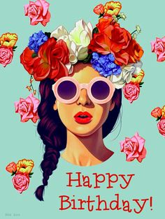 flowers, girl, and art sunglasses glasses shades braid plait braided beauty floral headband headpiece accessories accessorize accessory woman rose roses retro indie hipster art sketch drawing painting 2016 artwork circle brunette beautiful Art And Illustration, Girl Illustrations, Arte Pop, Happy B Day, Art Design, Graphic Design, Graphic Art Prints, Interior Design, Birthday Wishes