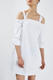 Off-The-Shoulder Shirt Dress By Boutique