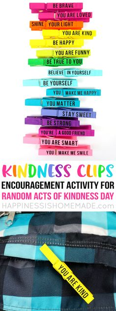 Looking for random acts of kindness ideas? These Kindness Clips are perfect for Random Acts of Kindness Day (February 17th), and they also make a great school-wide encouragement activity for children! A fantastic RAOK idea that's great for all ages! via @hiHomemadeBlog