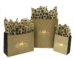 Black J-cut Shopping Bags with a Metallic Gold Foil Hot Stamp ...