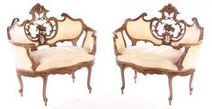 PAIR FRENCH LOUIS XV CARVED WALNUT SETTEES 1910 : Lot 57
