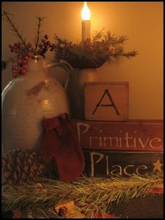 ~A Primitive Place~ (Love the idea of expressing things through wooden blocks) - MARTHA Primitive Christmas, Country Christmas, Winter Christmas, Vintage Christmas, Christmas Time, Christmas Ideas, Christmas Crafts, Xmas, Primitive Country Crafts