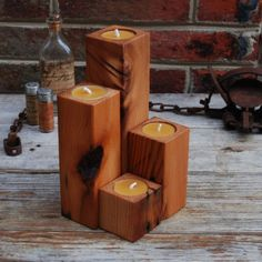 Supermarket: Smoke Stacks- 4 Recycled Olde Growth Pine Candle Holders from Peg and Awl