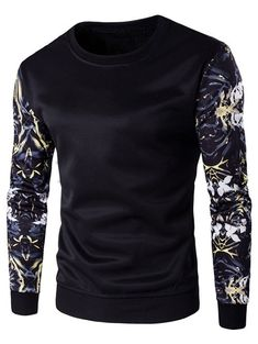 Rib Cuff Floral Sleeve Crew Neck Sweatshirt - Black - M - BLACK M