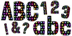 * NEW * Funky Black and Multicoloured Stars Display Lettering Pack