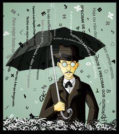Fernando Pessoa by GabKT on DeviantArt Umbrella Art, Under My Umbrella, Book Writer, Book Reader, Dale Carnegie, Poema Visual, Sea Activities, Figure Of Speech, Singing In The Rain
