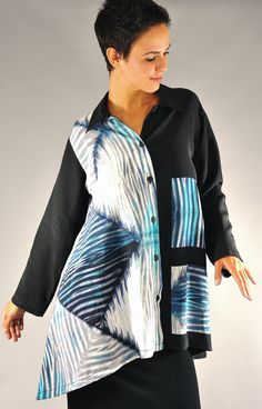 Arashi Shibori Silk Pieced Orchid Blouse in blues painted and black Small