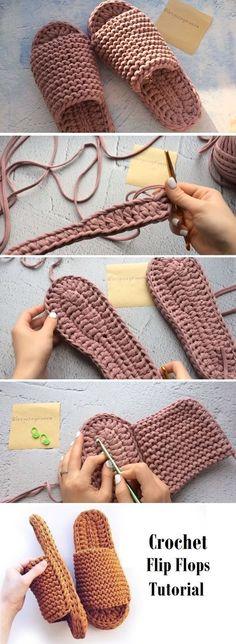 Learn to Crochet Flip-Flops - Design Peak - Crochet Tutorials, Patterns Crochet Crafts, Easy Crochet, Crochet Projects, Knit Crochet, Crochet Summer, Crochet Tutorials, Crochet Flower, Crochet Beanie, Crochet Slipper Pattern
