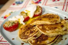 the chew   Recipe    Michael Symon's Bacon Pancakes With Baked Tomatoes