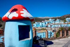 Júzcar, Spain - this town was painted 'Smurf Blue' to appear in a Smurf movie - locals voted to keep it that color ... Moment Open/Getty Images