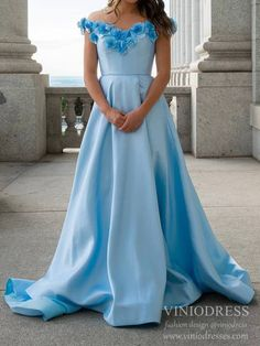 Flower Off the Shoulder Light Blue Prom Dresses with Pockets – Viniodress Blush Pink Prom Dresses, Junior Prom Dresses, Lace Bridesmaid Dresses, Blue Dresses, Cheap Formal Dresses Long, Formal Dresses For Weddings, Military Ball Gowns, Satin Formal Dress, Sweet 15 Dresses